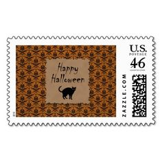 Happy Halloween Damask With Black Cat Stamps