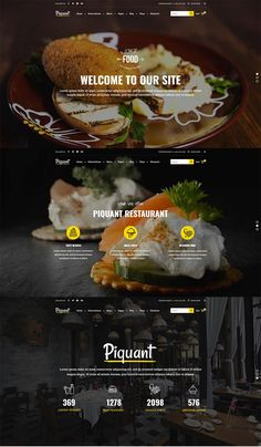 With tons of features and layouts, Piquant is a true WordPress theme specialty! #wordpress #theme #webdesign #layouts #template #responsive #restaurant #cafe #bar #bistro #bakery #pub #cafeteria #coffeeshop #pizzeria #food #foodblog #recipes Web Bar, Top Website Designs, Restaurant Website Design, Tapas, Food Web Design, Web Layout, Blog Layout, Layout Design, Food Banner