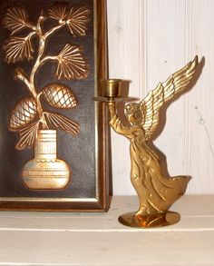 Vintage Heavy Brass Angel Candleholder by lookonmytreasures