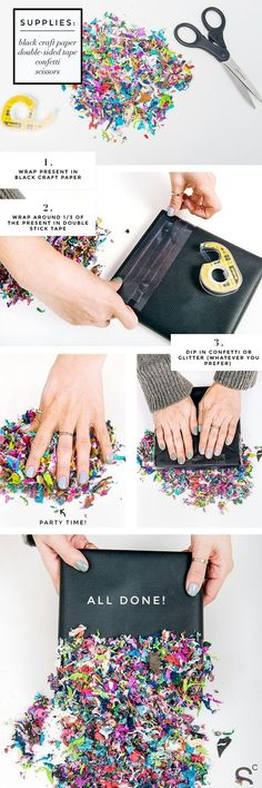 7 Days of Gift Wrapping Ideas: DIY Confetti Dipped Presents - Diy Geschenke Ideen Wrapping Ideas, Creative Gift Wrapping, Present Wrapping, Creative Gifts, Wrapping Papers, Creative Ideas, Christmas Gift Wrapping, Christmas Diy, Christmas Cards