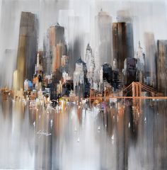 Wilfred Lang New York heights Skyline Painting, City Painting, Modern Art, Contemporary Art, A Level Art, Urban Art, Painting Inspiration, Architecture Art, Cool Art