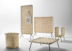 The Zumitz collection by Iratzoki & Lizaso for French brand Alki. Screens, storage, table & basket all made from slivers of hand woven green chestnut wood. Office Room Dividers, Wooden Room Dividers, Sliding Room Dividers, Ideas Cabaña, Screen Design, Wood Design, Design Design, Decoration, Wicker