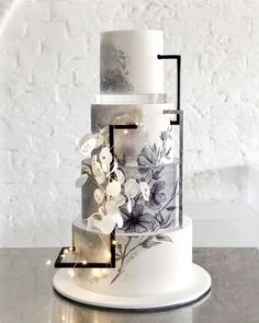 Let there be light ? My favourite wedding cake to date I think! My beautiful bride Sharna allowed me free reign on this design - Black Wedding Cakes, Beautiful Wedding Cakes, Beautiful Cakes, Beautiful Bride, Camo Wedding, Amazing Cakes, Pretty Cakes, Blue Wedding, Spring Wedding