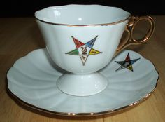 "Vintage (1962 dated) OES Order of Eastern Star footed teacup  saucer.  Handwritten ""Electa"", dedication and date on bottom.  See at:  http://cgi.ebay.com/ws/eBayISAPI.dll?ViewItem=200743661272  $19.99 ~ Free Shipping!"