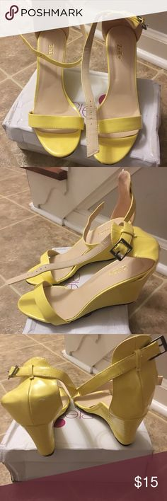 Wedge sandals Yellow, patent leather (man made) wedge sandals Shoes Wedges