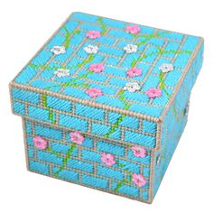 Wall Flower Box & lid pattern or complete kit. Using plastic canvas make this useful and fun box. Ideal as a gift for Christmas, Birthday or just because!
