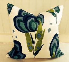 Poppy Floral Pillow Cover / 18 X 18 / Designer Anne Selke fabric in shades of blue, green and ivory