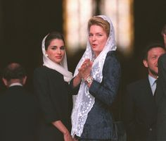 Queen Noor and her daughter in law Queen Rania at a memorial service for King Hussein I in St. Pauls cathedral.