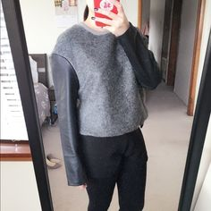"""NWOT Mango Sweatshirt w/ Faux Leather Sleeves XXS Brand new never worn in perfect condition. US size XXS fits like regular XS (Mango size chart starts from XXS). Very stylish sweatshirt with faux leather sleeves.33% polyester, 27% acrylic, 22% mohair, and 18% wool. I'm about 5""""3' and 108 lb. Mango Tops Sweatshirts & Hoodies"""