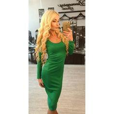 GM-Fashion Green Plain Cross Back Collarless Scoop Neck Cotton Blend Midi Dress