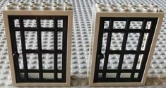 LEGO Lot of 2 Light Gray 1x4x3 Jail Window Bars