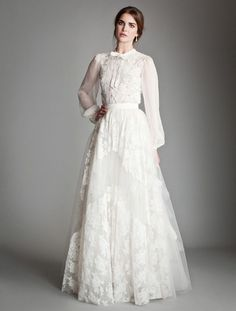 Cheap Long Poet Sleeve Lace Wedding Dress UK Temperley London High Neck A-Line Applique Bow Tie Floor-Length Skirt Bridal Gowns - Welt der Hochzeit Lace Wedding Dresses Uk, Wedding Dress Trends, Wedding Dress Sleeves, Long Sleeve Wedding, Bridal Dresses, Lace Dress, Wedding Blog, Gown Wedding, Lace Skirt