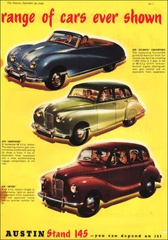 Austin 1949 Car Posters, Poster Ads, Vintage Cars, Antique Cars, Classic European Cars, Austin Cars, Chevy, Car Advertising, Pickup Trucks