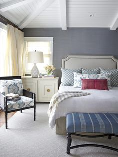 House of Turquoise: Waterleaf Interiors - this is a beautiful blue/grey wall colour and looks beautiful with the white ceiling, bed and patterned blue furniture. I definitely want!