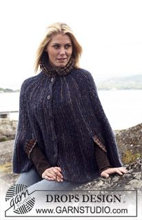 "DROPS 110-19 - DROPS cape in ""Vivaldi"" and ""Fabel"". Size S - XXXL. - Free pattern by DROPS Design"