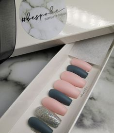 Coffin nails with blue/grey and nude pink matt nails with accent glitter nail Matt Nails, Press On Nails, Glitter Nails, Coffin Nails, Blue Grey, Nail Art, Luxury, Pink, Glittery Nails
