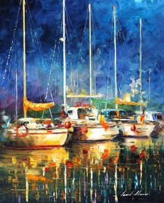 Leonid Afremov -  IN THE PORT -  Original, oil, painting, palette knife, impressionist, impressionism, surreal, surrealism, buy painting , purchase art, purchase painting, gallery