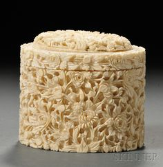 Ivory Box, China, oblong shape deeply carved with peony and chrysanthemum flowers and leaves, ht. Chinese Painting, Chinese Art, Le Morse, Art Asiatique, Pretty Box, Bone Carving, Little Boxes, Casket, Trinket Boxes