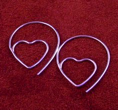 Silver Hoop Earrings / Heart Hoops in Sterling by MetalRocks, $25.00
