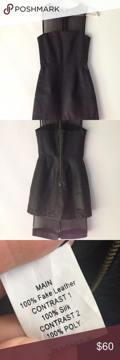 Shakuhachi LBD dress nwot sz 2 Never worn, this is fake leather with a back zipper and sheer hemline. Name tag is missing but it's a sz 2 by shakuhachi Shakuhachi Dresses