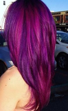 Love this hair color!! Magenta violet hair color