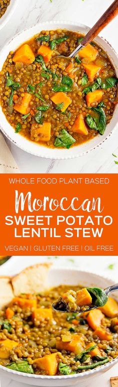 DELICIOUS Moroccan Sweet Potato Lentil Stew! Hearty and healthy stew bursting with flavor! #vegan #glutenfree #oilfree #lentil #sweetpotatoes #spinach #stew #plantbased #refinedsugarfree #healthy #monkeyandmekitchenadventures #recipe