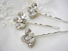 bridal hair accessories ,Bridal hair pins, Rhinestone hair pins, Head Piece, Set of 3, vintage style,  wedding hair ACCESSORIES on Etsy, $24.00