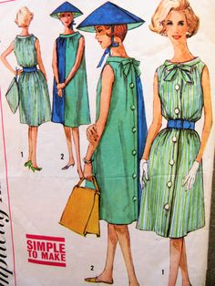 Vintage Simplicity 3904 Sewing Pattern, 1960s Dress Pattern, Hat Pattern, Turnabout Dress, Bust 31.5, 1960s Sewing Pattern, Tent Dress by sewbettyanddot on Etsy