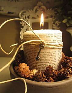 25 Fall Book Page Crafts - The Scrap Shoppe Candle Lanterns, Candle Jars, Candle Holders, Book Page Crafts, Fallen Book, Homekeeping, Book Pages, Artisanal, Pine Cones