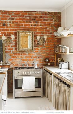 kitchen - french accents with exposed brickwork
