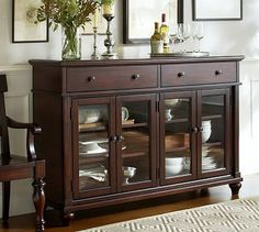 Attractive Lawton Buffet, Dark Cherry Stain   Traditional   Buffets And Sideboards    Pottery Barn