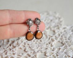 Elegant post dangle earrings silver and wood by MyPieceOfWood