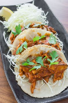 Braised Mushroom Tacos | Marc Matsumoto: Uses King mushrooms & shitakes + 2 different types of dried peppers...