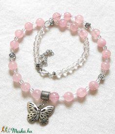 Rózsakvarc ásvány nyaklánc, féldrágakő gyöngysor pillangó medállal (amethysta) - Meska.hu Charmed, Bracelets, Jewelry, Fashion, Moda, Jewlery, Jewerly, Fashion Styles, Schmuck