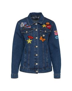 743627e17491 Coole Jeansjacke von GLAMOROUS  aboutyoude mit knalligen Motiv-Patches auf  der Vorder- und Rückseite. Der rockige Charakter entsteht durch die  aufgesetzten ...