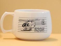 500e 520n Helicopter Aviation Black White Coffee Cup Mug