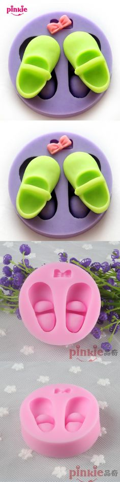 Bowknot baby shoes silicone mold,fondant cake baking Fimo resin clay candy chocolate soap mould cake decoration tools wholesale