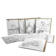 """ Boitier de 10 cartes   Les cartes à peindre sont idéales pour une activité sans préparation. Des crayons de bois, de cire ou des pastels, de la peinture à l'eau ou acrylique, vous prenez simplement ce que vous avez à la maison et vous réalisez les plus belles cartes à offrir tout au long de l'année ! Vous manquez d'inspiration ? plusieurs de ces dessins sont en couleurs dans la catégorie """"Cartes de souhaits"""" sur notre site Internet : lapetitemaison.ca Crayons, Greeting Cards, Pencil, Site Internet, Activities, Fragrances, Drawings, Pastels, Painting"""