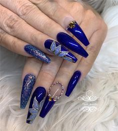 60 Bling Acrylic Coffin Nails Design With Rhinestones 60 Bling Acrylic Coffin Nails Design With Bling Acrylic Coffin Nails Design With Rhinestones Honeycomb Nail Art See We loved this nail art model, whic. Nails Yellow, Navy Blue Nails, Blue Coffin Nails, Blue Acrylic Nails, Acrylic Nail Designs, Nail Art Designs, Rhinestone Nails, Bling Nails, Fabulous Nails