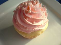 Pink Champagne Cupcakes with Champagne Buttercream Frosting.