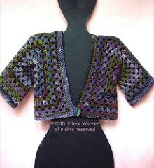This pattern is really more of a guideline on how to make a granny hexagram shrug in any size yarn. Find the pattern on my blog here.