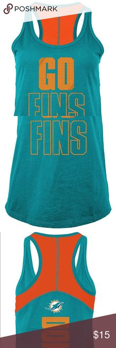 Miami Dolphins Women's Racer Back Tank Top Brand New Officially Licensed with tags. This bold color contrast racer back tank is the perfect top to execute those crunches or just relax in style. 100% cotton. This item is slim fit. (L)195504578848 (XL)195504578879 Tops Tank Tops