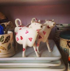 Emma Bridgewater Pink Hearts Cow Creamer ~ I love cow creamers.  I have a few, and now I know what they are.  ...  LOL.  Left this comment on the person's pin, thinking I had pinned it to my board.  I'm not a morning person.  LOL.