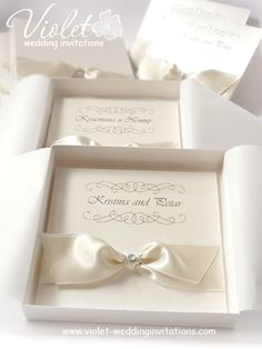 #ivory #wedding #invitations | pearlescent invitation in a box from www.violet-weddinginvitations.com