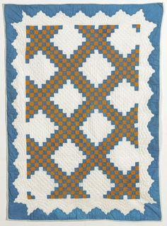Irish Chain Crib quilt, c 1870, New York