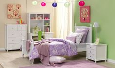 Forty Winks Brooke white children's bedroom furniture suite with pale pink and purple pastel décor and linens