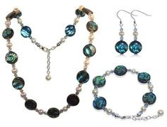 Sterling Silver Abalone and Crystal Bracelet Earrings with 16 inch Necklace Jewelry Set Made with Swarovski Elements Gem Avenue. $93.99. Bracelet and Necklace with Lobster clasp. Made in USA. Made with Blue Abalone & Swarovski Elements. Gem Avenue sku # SCST044. .925 Sterling Silver