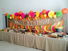 Food table, bright party decor, birthday party backdrop, 90th birthday, catering