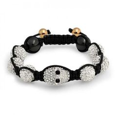 If you like Shamballa inspired bracelets then you will love our sparkling crystal skull beaded bracelet. Gothic and punk inspired, this unisex jewelry would make the perfect gift for that edgy person you know. This white crystal jewelry features a crystal Goth Jewelry, Skull Jewelry, Bling Jewelry, Fashion Jewelry, Men's Fashion, Crystal Bracelets, Crystal Jewelry, Beaded Jewelry, Beaded Skull