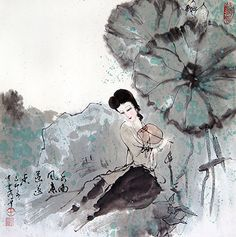 Chinese Figure, Religion, Folklore Painting P0601396. Chinese Maiden Painting.
